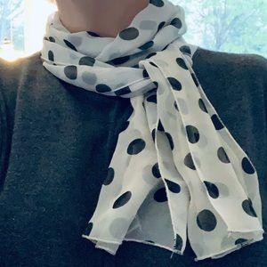 Glam! Black and white polka dot sheer scarf